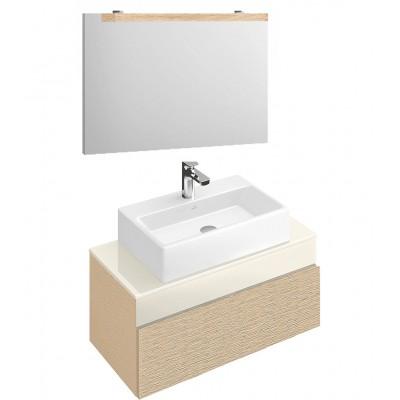 Тумба для ванной Villeroy & Boch Memento C780M0FC Bright Oak 80 см с раковиной и зеркалом