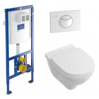 Инсталляция Villeroy & Boch 5660D101 кнопка белая в комплекте с унитазом O.Novo 56601001 с крышкой микролифт